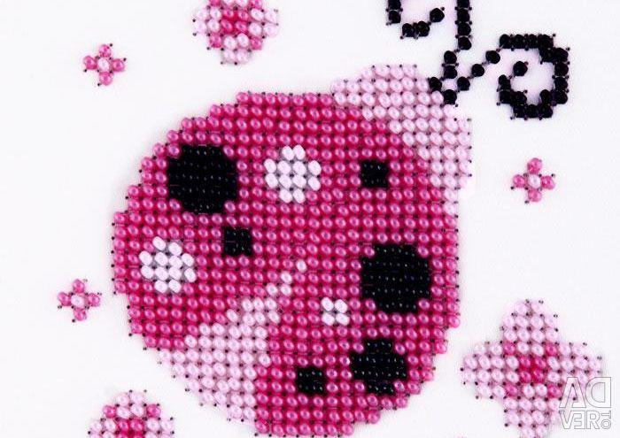 Set for embroidering beads Ladybug.