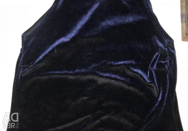 Dark blue velvet top T-shirt