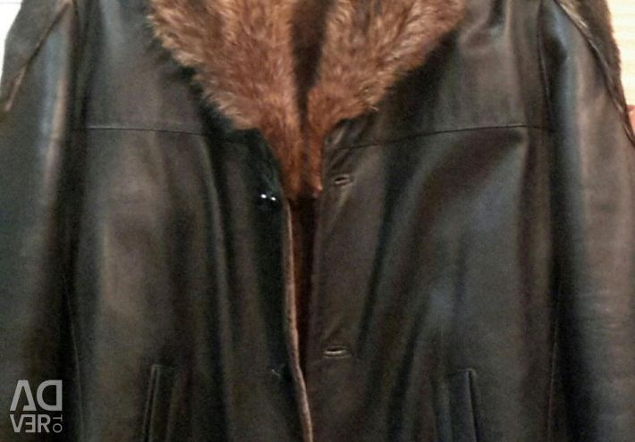 Кожаная зимняя куртка на меху