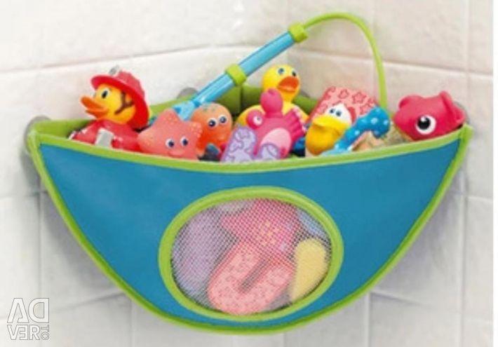 Γωνιακό πλέγμα για την αποθήκευση παιχνιδιών στο μπάνιο
