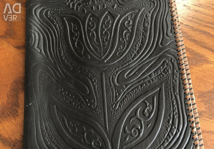 Leather cover under the notebook