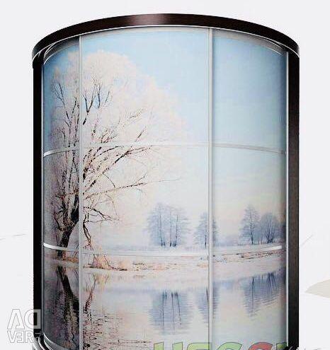 Radius cabinet with photo printing