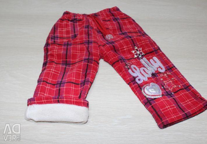 Вельветовые теплые штанишки на теплом подкладе