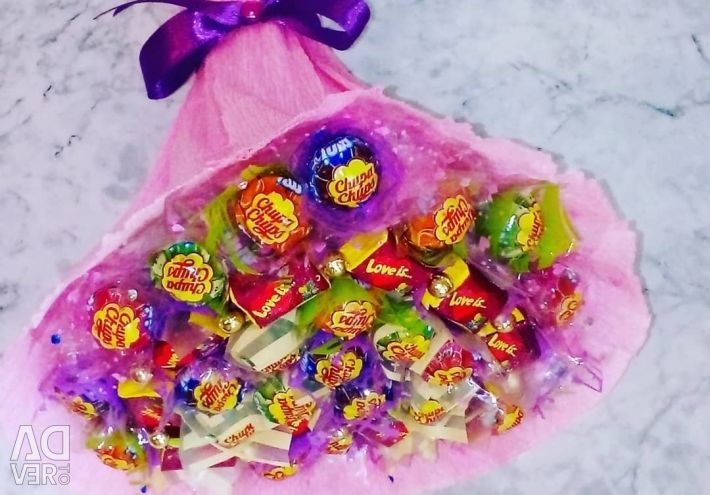 Bouquets of sweets and toys.