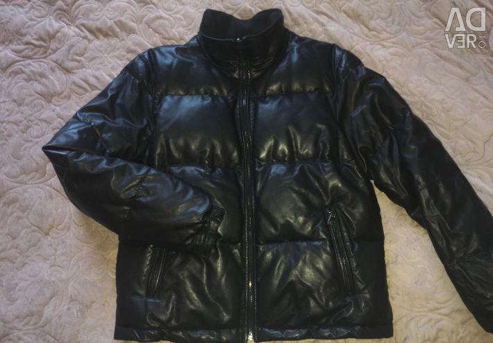 Corneliani leather double-sided down jacket