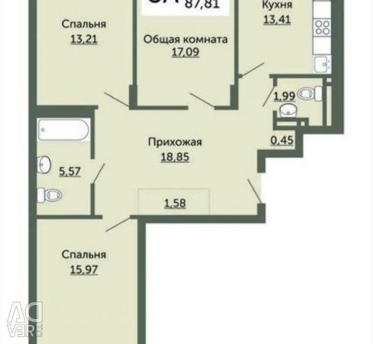 Apartment, 3 rooms, 88 m²