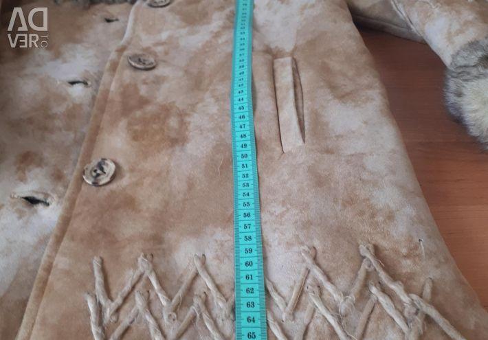 Beige sheepskin coat for girls 5-6 years