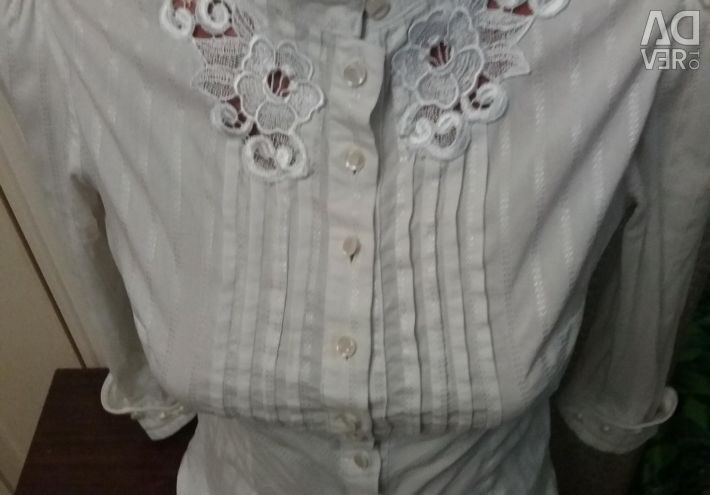 White shirt-blouse plus gift