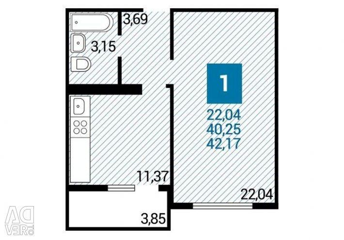 Apartament, 1 cameră, 42 m²