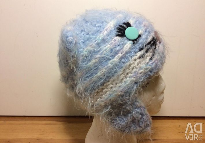 Kotoshapka for autumn and winter, hand-knitted, 54-56, 377