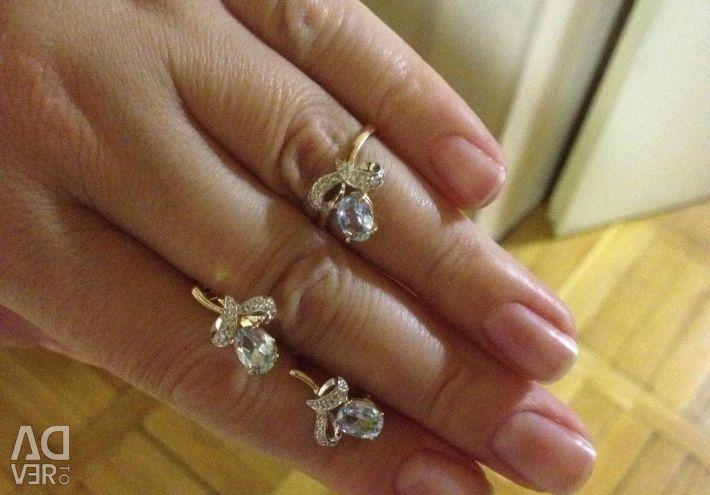 Оч красивый нежный комплект топаз бриллианты золот