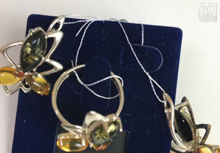 Silver earrings and ring new