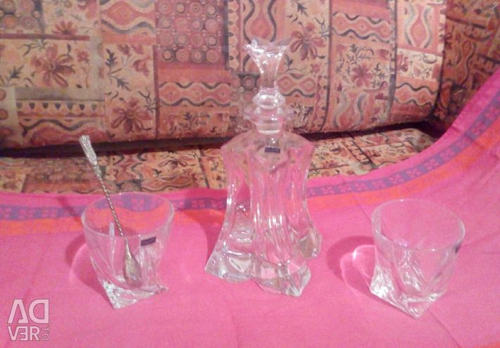 Bohemian crystal. Set for whiskey.