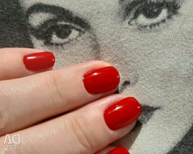 Manicure coated gel polish.