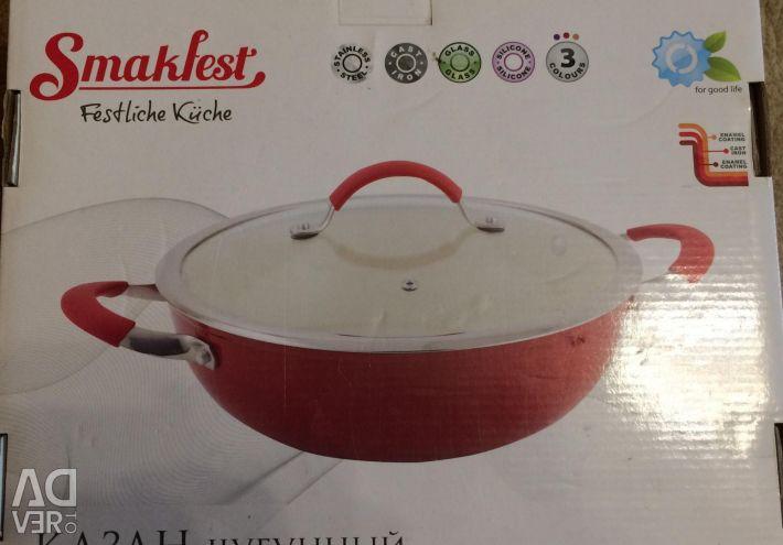 Noua tigaie emailată cu wok din fontă
