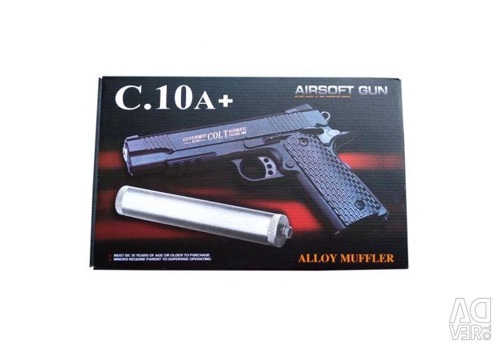 Детский пистолет с глушителем Airsoft Gun C.10A+