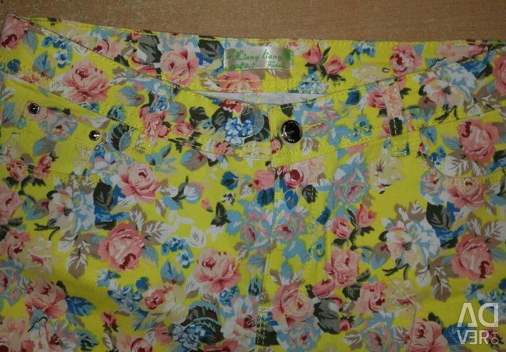 Pantaloni-blugi pentru femei florale imprimare 46-48 dimensiune