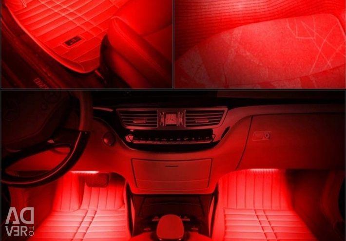 Red car interior lighting