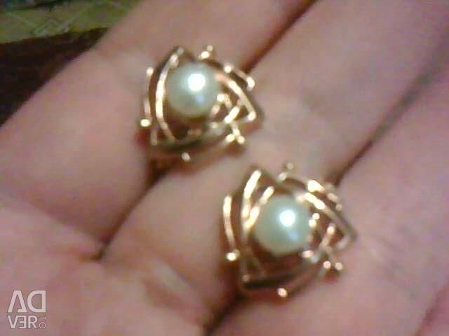 Earrings. (Pearls Nat.) Gold plated. NEW.