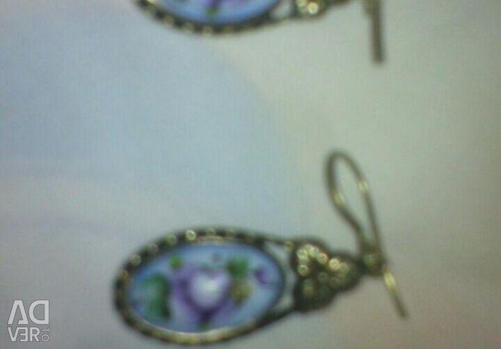 Earrings and ring. Gzhel. Set.
