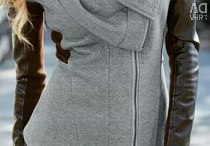 Jachetă tricotată în stilul motociclistului