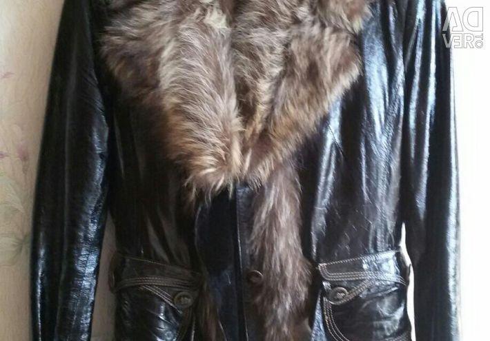Шкіряна утеплена куртка