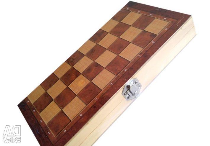Tavla, satranç, dama 3'ü 1 arada (tahta)