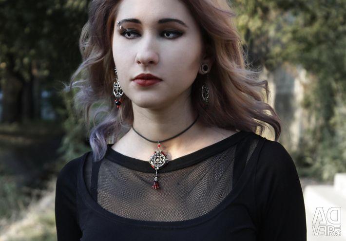 Earrings with skulls on the cross Halloween