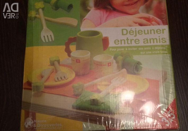 Set of children's wooden utensils