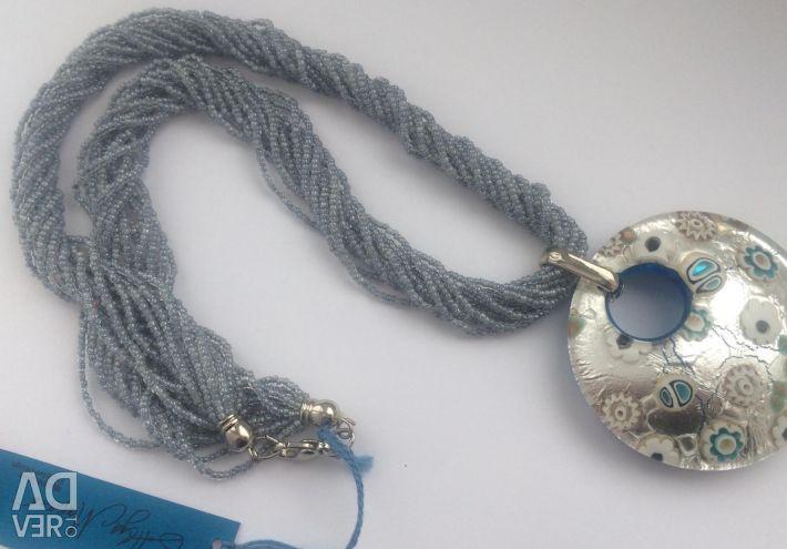 Murano pendant on a Venetian bead 12 strands