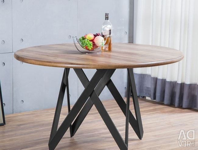TABLE HM8110.01 OLD BEECH WITH METAL BASE Φ135