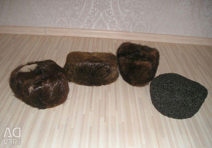Caps of a muskrat, mink, astrakhan fur