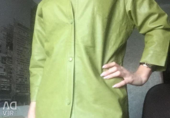 Πράσινο δερμάτινο μπουφάν