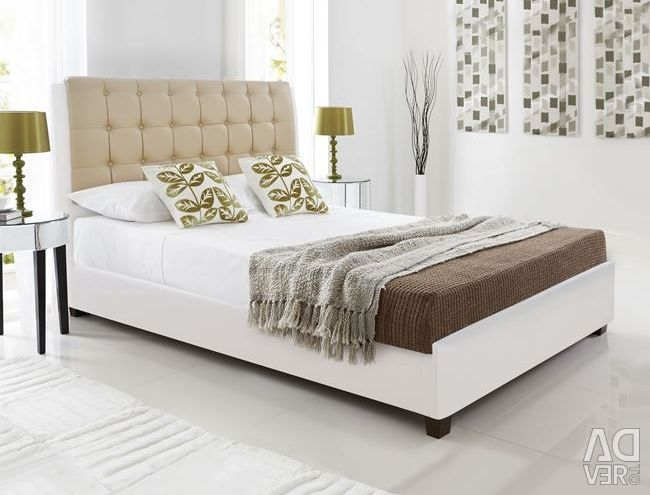 Vanity Bed with White & Mocha PU 150x200