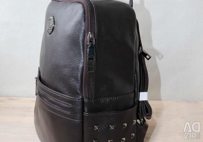 New backpack made of genuine leather