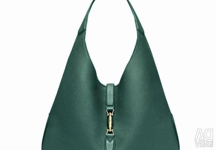 Темно-зеленая стильная вместительная сумка