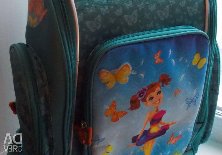 Рюкзак школьный бирюзовый «Бабочки»