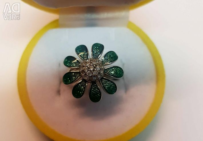 Ring with silver enamel