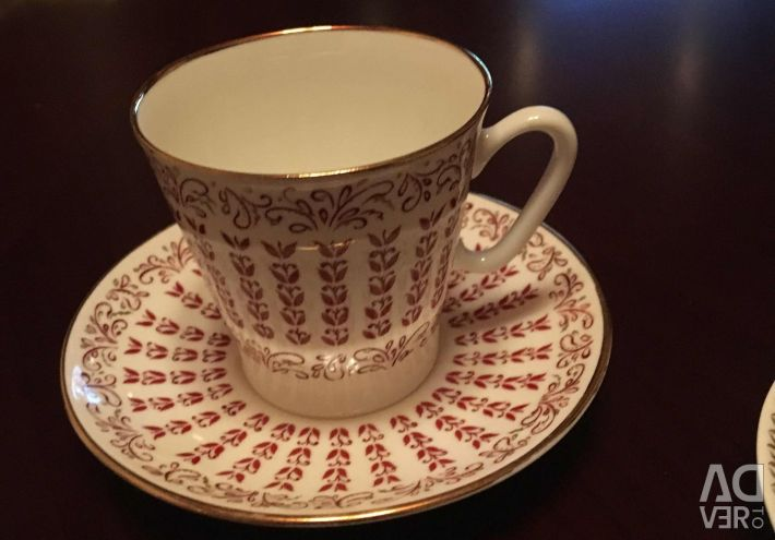 Coffee pair (cup + saucer) Bone China. LFZ