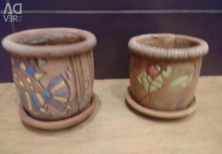 Горшки глиняные с поддонами
