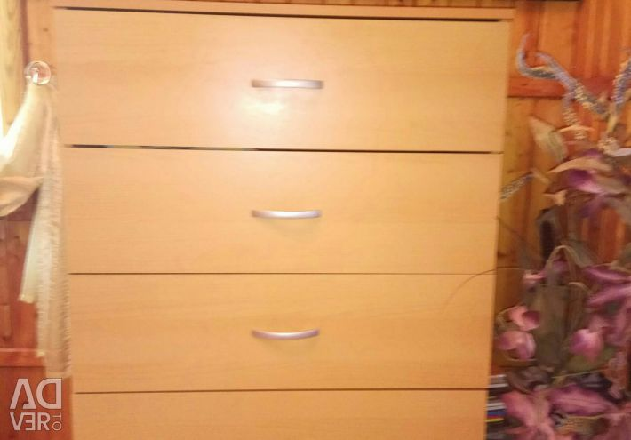 High chest of drawers (5 sections) + second-hand wardrobe (2 x lock)
