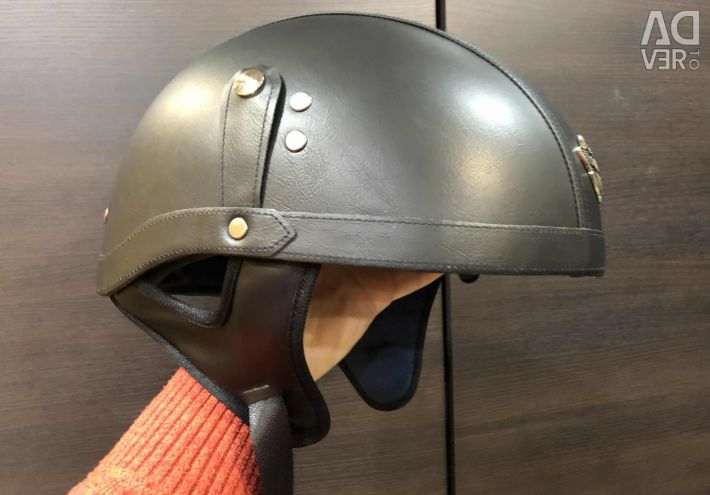 Leather helmet with built-in goggles 57-58cm