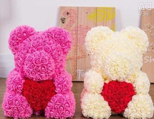 Ведмедики з троянд 40 см подарунок на будь-яке свято