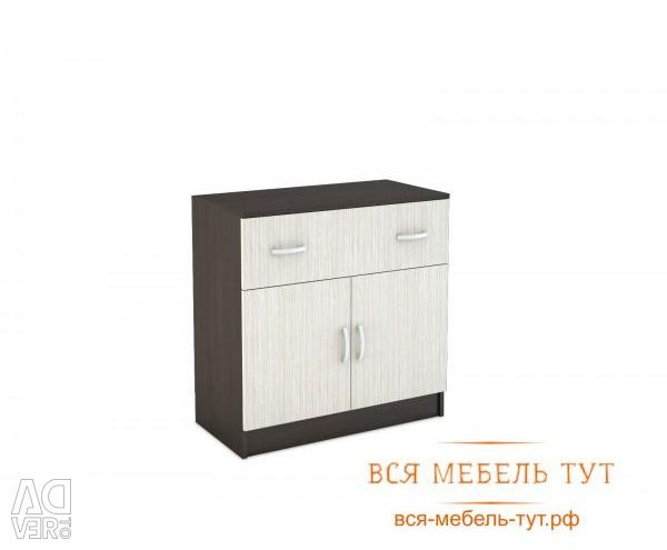Basia Chest with 2 doors and a drawer of chipboard (wenge / oak white) KM 552