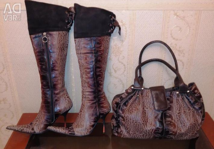 Комплект чоботи ботфорти і сумка