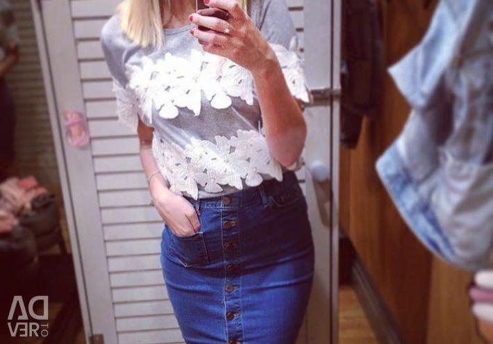 ? T-shirt koton lace