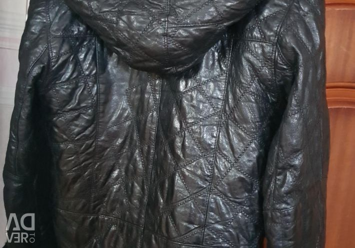 Leather jacket with fur lining