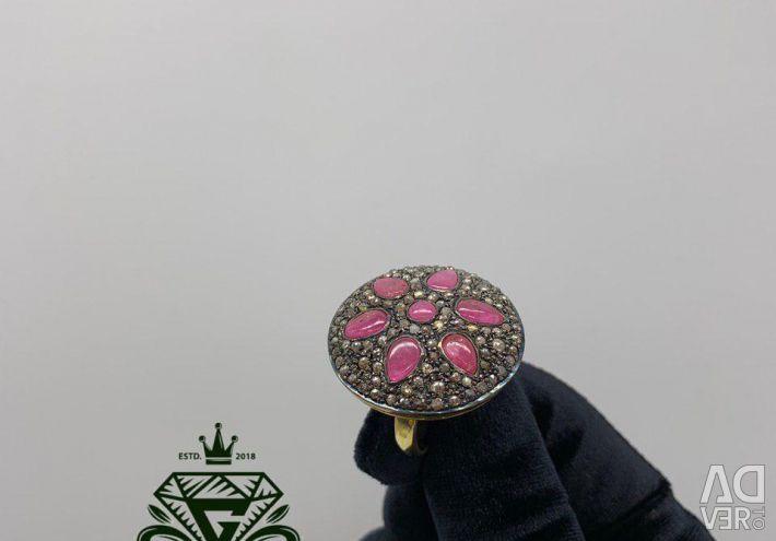 Cercei și inel exclusiv cu Rubini