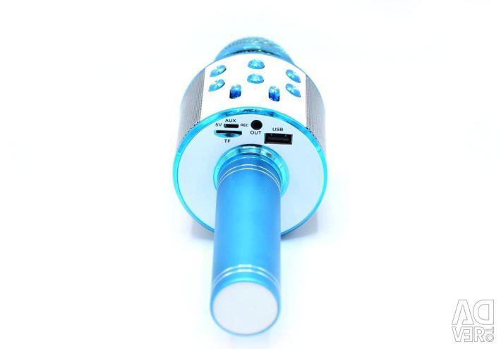 Hoparlör WS-858 ile karaoke mikrofon (mavi)