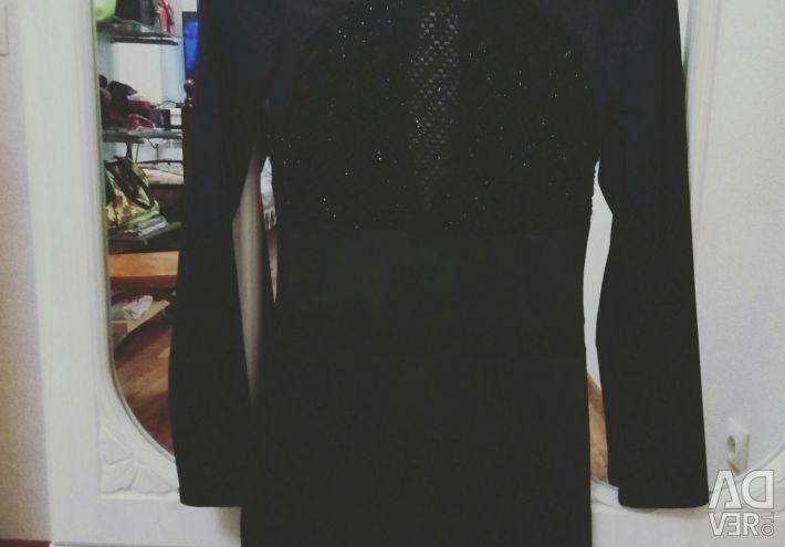 Платье с вставкой из вязаной сетки с люрексом